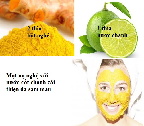 Mặt nạ chữa sạm da từ bột nghệ và chanh