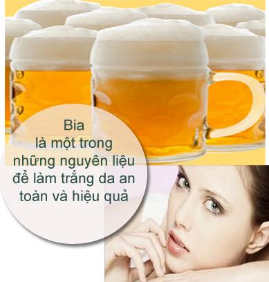 cách tắm trắng da bằng bia